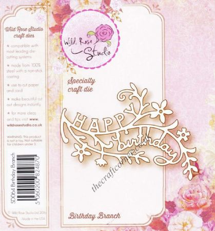Birthday Branch Speciality Craft Die By Wild Rose Studio - SD064